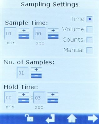 handheld particle counter settings