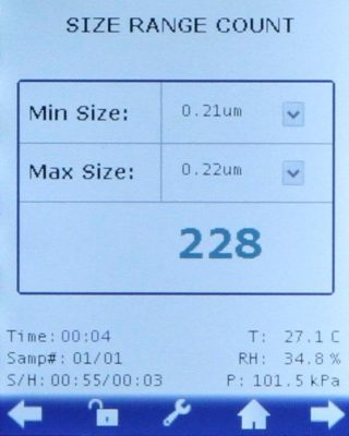 HandiLaz Mini Particle Counter size range count screen