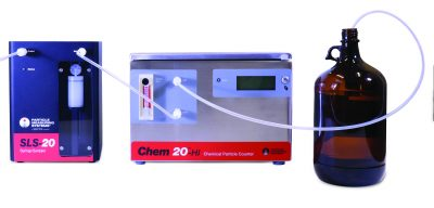 Chemical syringe sampler particle counter
